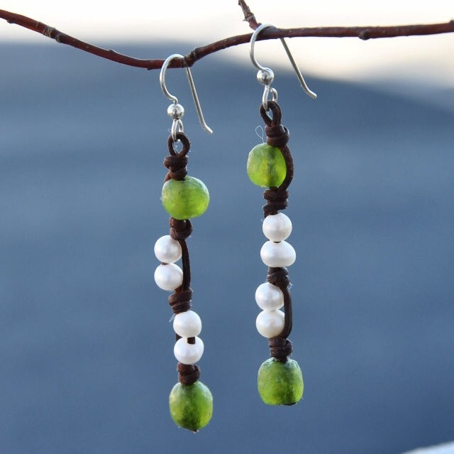 Sea Urchin Pearl, Leather and Glass Earrings