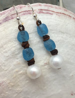 Clearwater Pearl and Leather with Glass Earrings