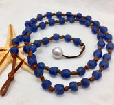 Solana Pearl and Leather with Glass Necklace