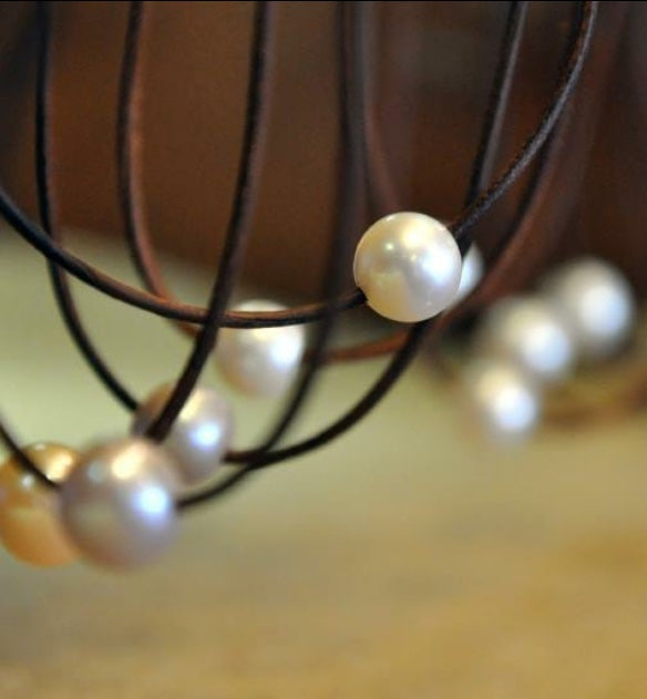 South Shore Solitaire Pearl and Leather Necklace