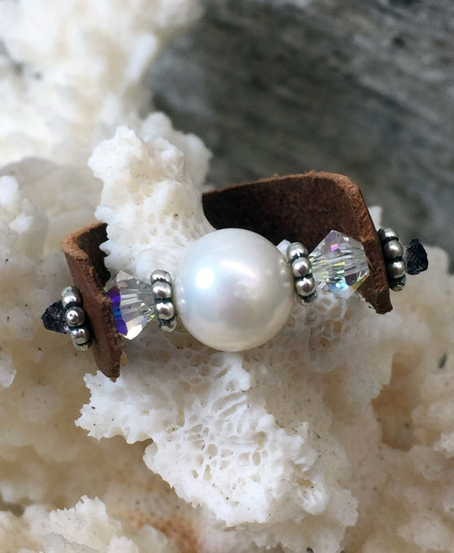 Shimmering Seas Pearl and Leather Ring
