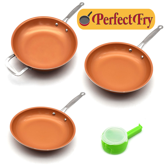 New Perfect Fry Pan Skillet Allergen Free Antimicrobial Environmentally Friendly Induction Ready Set 8/10/12 inch
