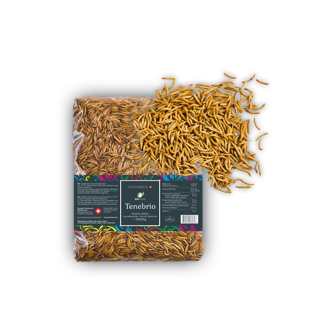 Organic Edible Mealworms | Frozen | Tenebrio Molitor | Swiss production | 1000g