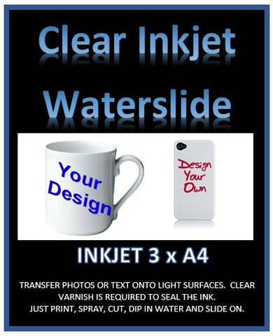 clear inkjet water slide decal paper