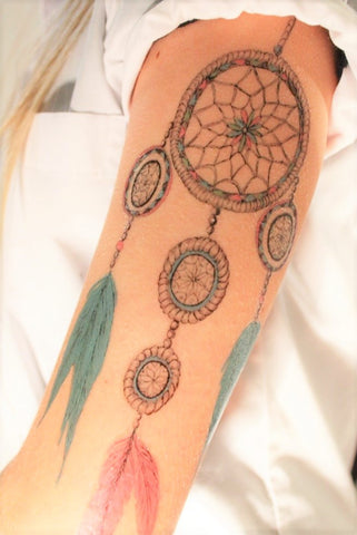 dream catcher tattoo design on temporary tattoo paper