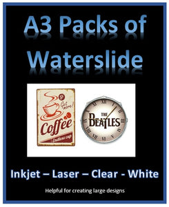 A3 Water Slide Decal Paper A3 - INKJET - LASER - CLEAR - WHITE