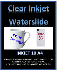 Clear Water Slide Decal Paper A4 - Print Your Own Water Transfers