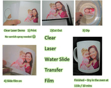 how to use laser water slide transfer paper CLEAR
