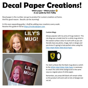 Decal Paper Bundle Pack - Print on any Surface 3 Types A4 + Customer Creations PDF