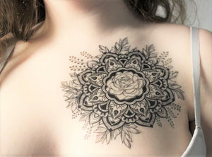 mandala rose tattoo design on blank temporary tattoo paper