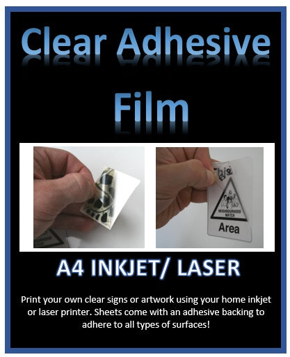 Custom Print on Clear Adhesive Film - Print your own clear signs or artwork A4 - Inkjet - Laser