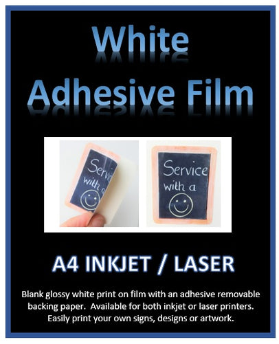 White Adhesive Film - Print your own white sticker film signs or artwork A4 - Inkjet - Laser