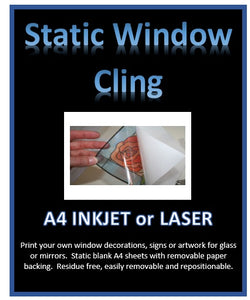 Static Clear Window Cling - DIY Print your own window decorations - Inkjet - Laser A4