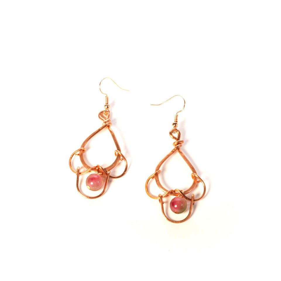 Scalloped Copper Earrings with Bead| Dangles| Tinklet Jewelry Earring Tinklet