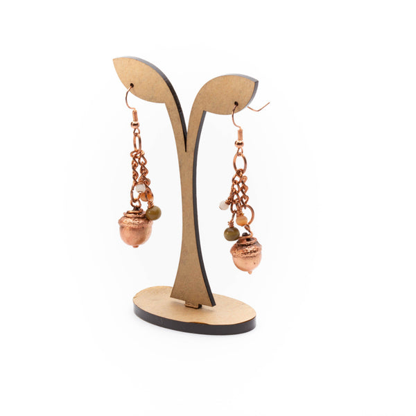 Natural Woodland Acorn Copper Earrings | Tinklet Jewelry