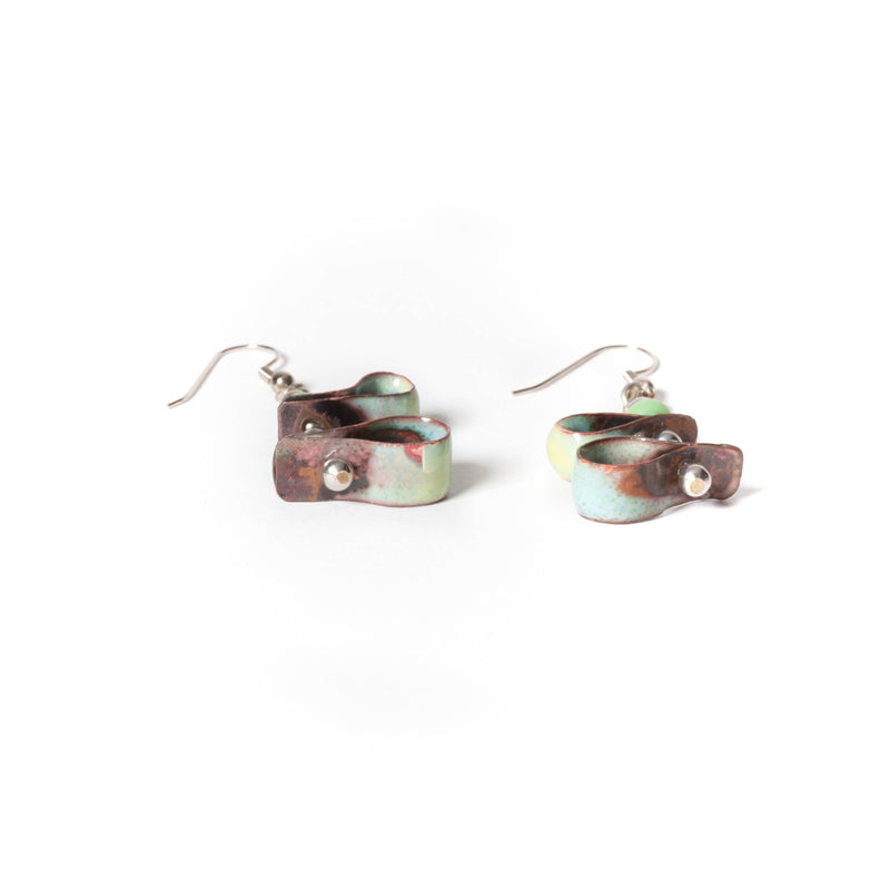 dangle copper enamel earrings