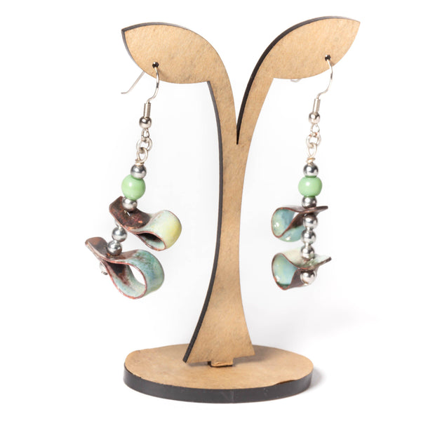 enameled copper earrings
