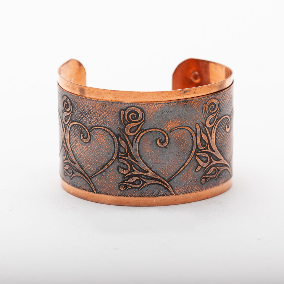 Copper Cuff Etched Hearts | Tinklet Jewelry Bracelet Tinklet