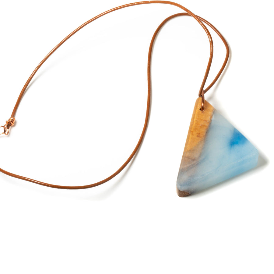 Blue Resin and Wood Pendant Necklace | Tinklet Jewelry necklace/pendant Tinklet