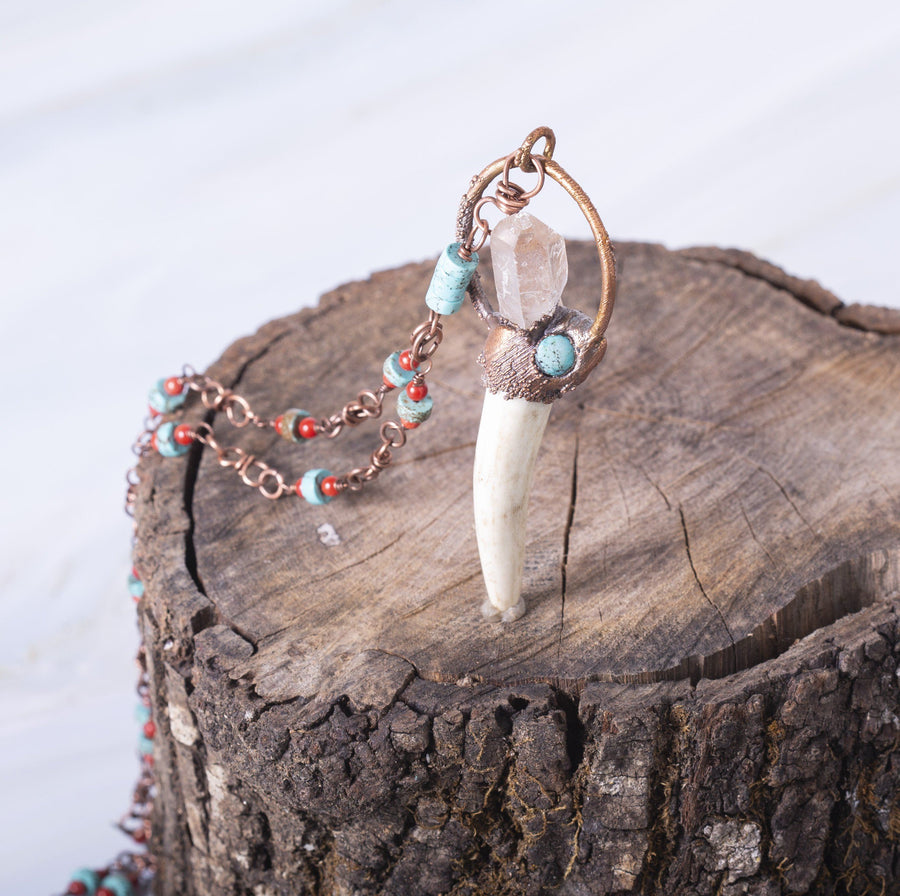 Electroformed Copper and Antler Turquoise Pendant | Tinklet Jewelry necklace/pendant Tinklet