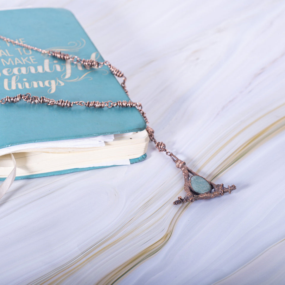 Amazonite and Oak Tree Branch Pendant | Tinklet Jewelry necklace/pendant Tinklet