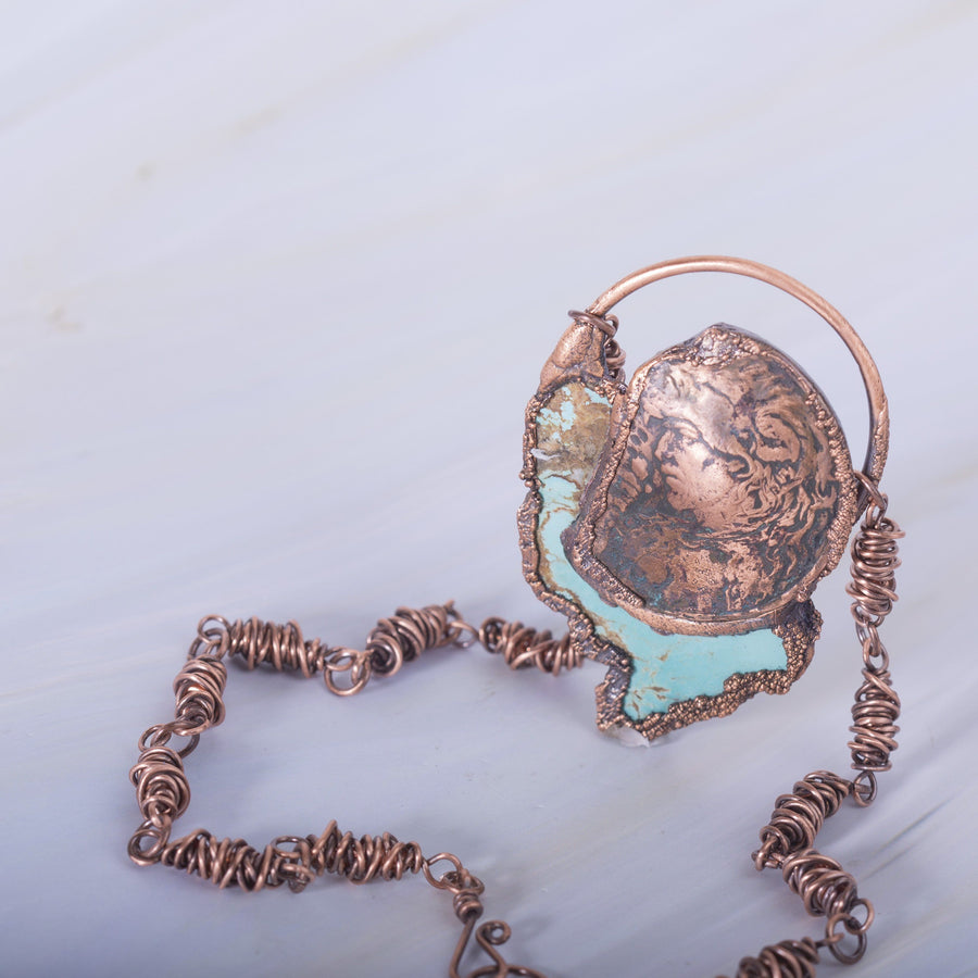 Wolf Warrior Continent Electroformed Copper Pendant | Tinklet Jewelry necklace/pendant Tinklet