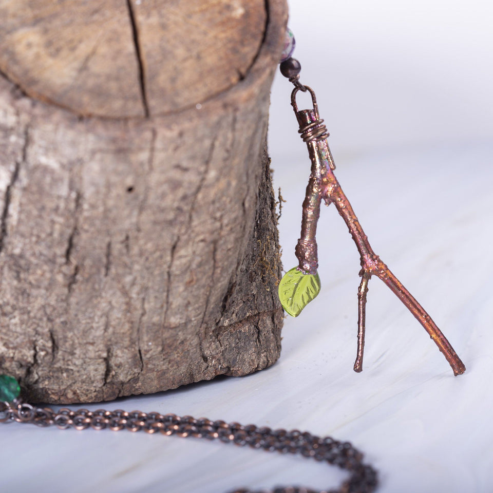 Gypsy Vintage Copper Branch Beaded Necklace | Tinklet Jewelry necklace/pendant Tinklet