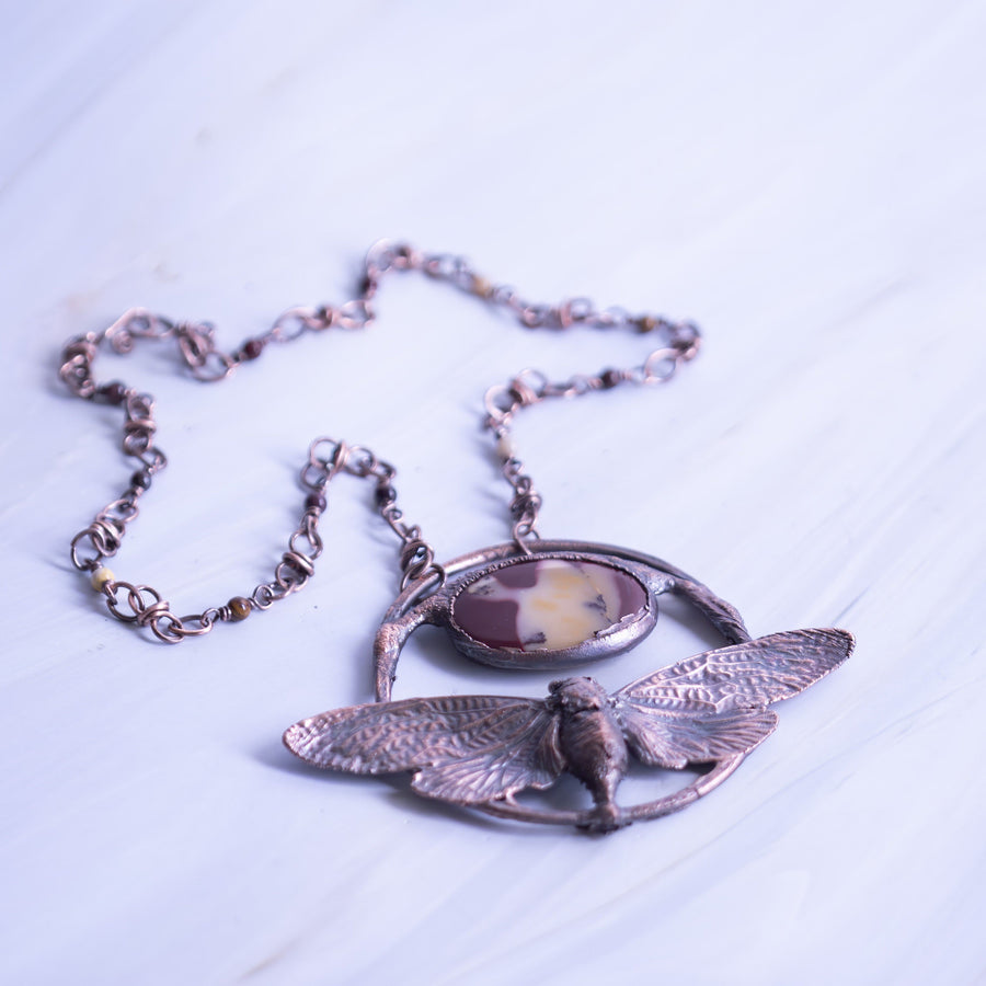 Cicada Electroformed Jewelry with Mookaite Jasper | Tinklet Jewelry necklace/pendant Tinklet