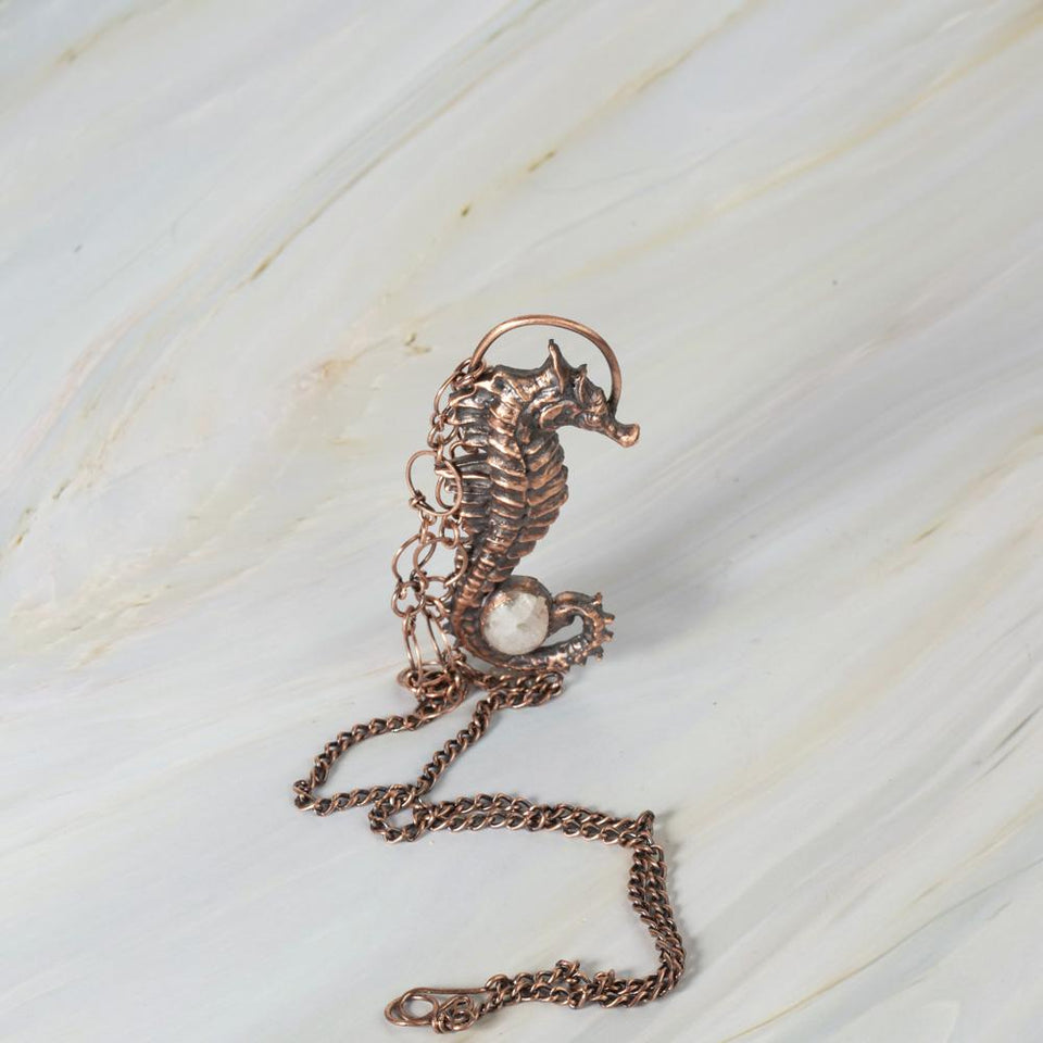 Copper Seahorse Pendant with Moonstone or Moss Agate | Tinklet Jewelry necklace/pendant Tinklet