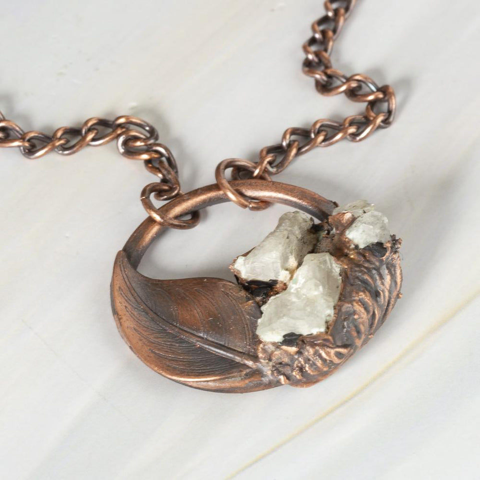 Natural Clear Quartz Crystal Nugget Copper Pendant | Tinklet Jewelry necklace/pendant Tinklet