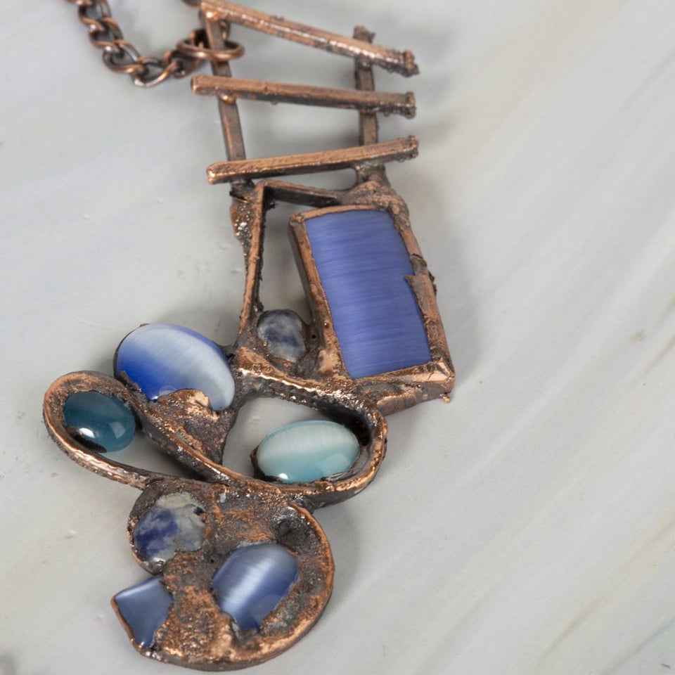 Rivers of Blue Electroformed Copper Pendant | Tinklet Jewelry necklace/pendant Tinklet