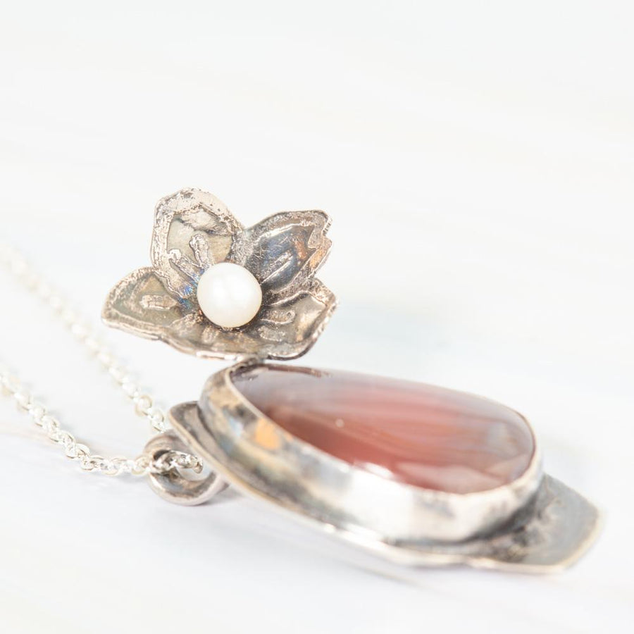 .925 Sterling Silver and Peach Agate Pendant Necklace | Tinklet Jewelry necklace/pendant Tinklet