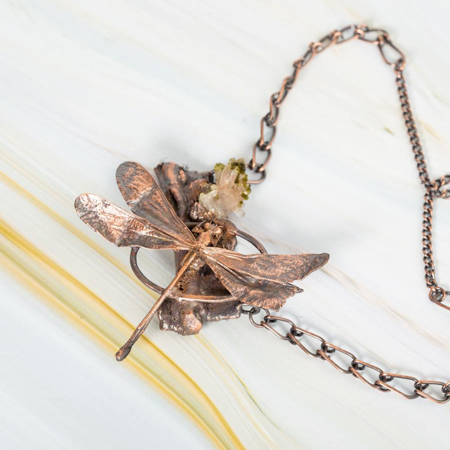 Crystal Quartz and Dragonfly Branch Electroformed Pendant | Tinklet Jewelry necklace/pendant Tinklet