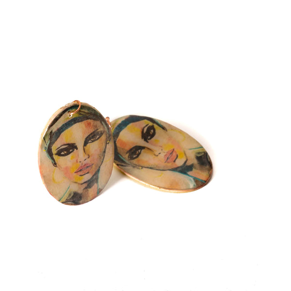 Large Painted Wooden Oval Earrings | Tinklet Jewelry
