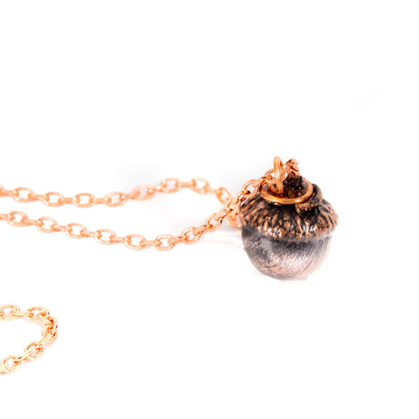 Copper Plated Acorn Pendant Necklace | Tinklet Jewelry