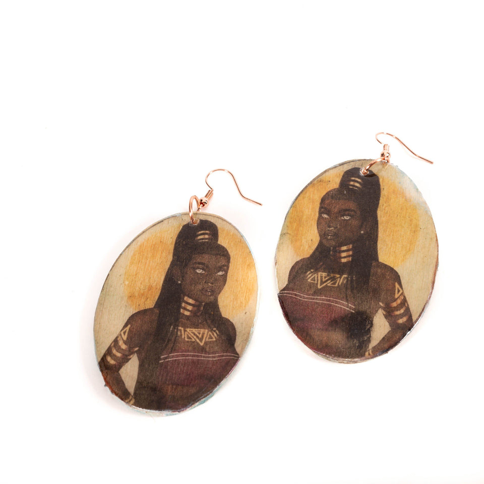 Nubian Queen Ethic Wooden Earrings | Tinklet Jewelry