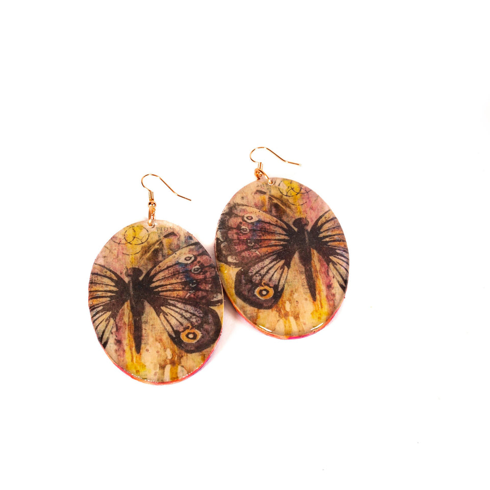 Wood Graphic Art Earrings | Tinklet Jewelry