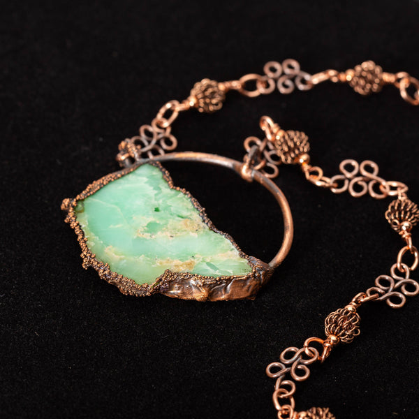 Copper Pendant Necklace with Green Opal Stone | Tinklet Jewelry