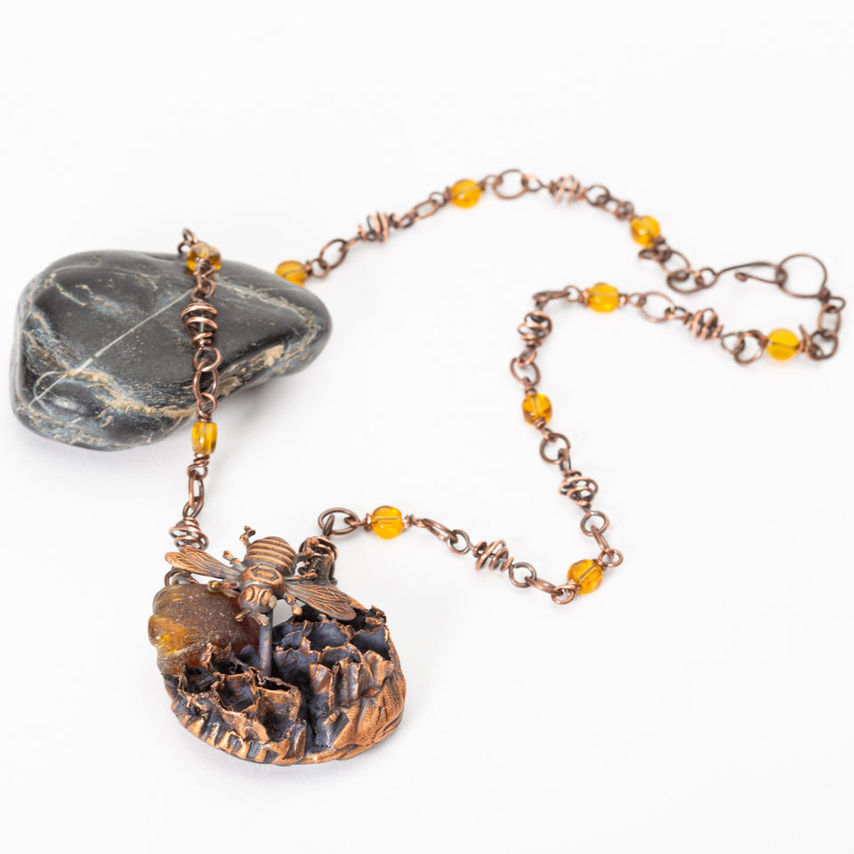 Honeycomb and Amber Copper Pendant Necklace | Tinklet Jewelry
