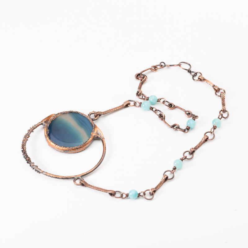 Polished Blue Striped Agate Copper Pendant | Tinklet Jewelry