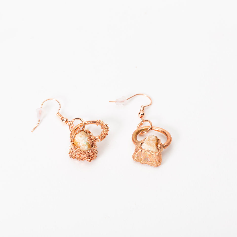 Small Electroformed Copper and Stone Earrings | Tinklet Jewelry Earring Tinklet Citrien