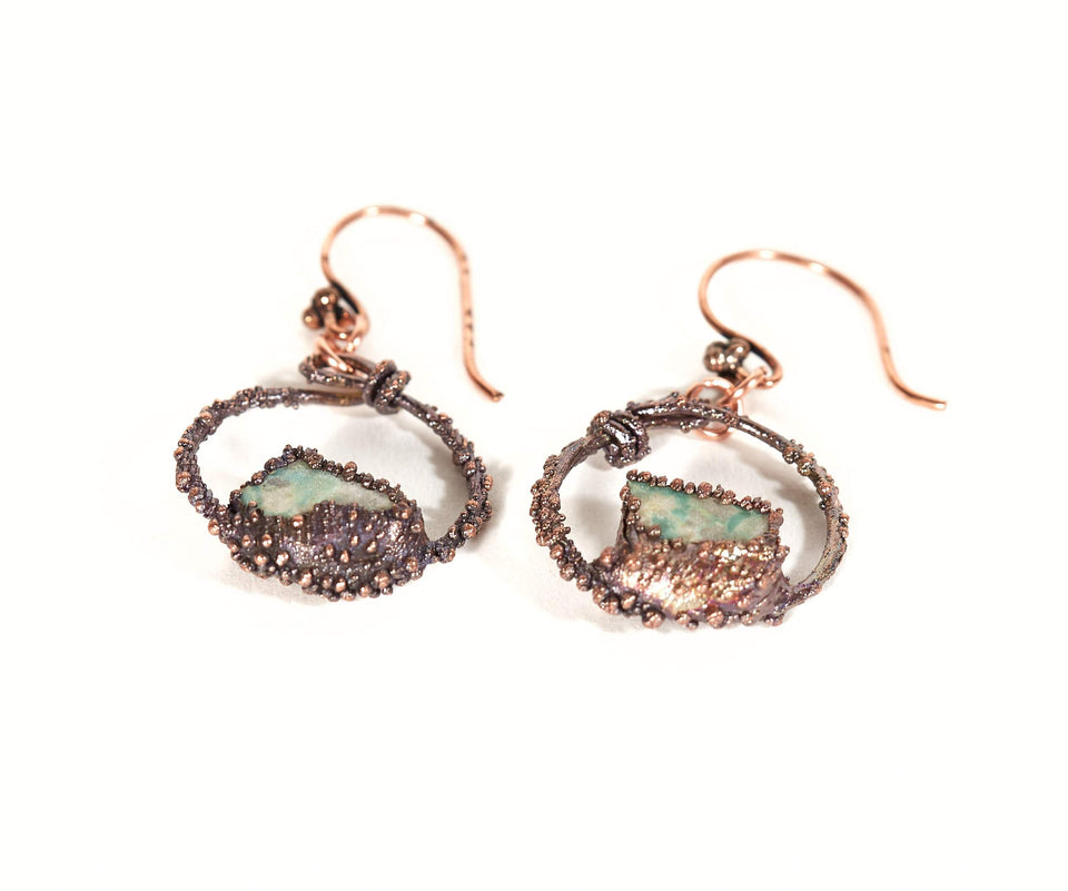 Turquoise Hoop Copper Earrings | Tinklet Jewelry