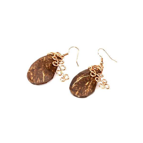 Natural Coconut And Copper Earrings | Tinklet Jewelry