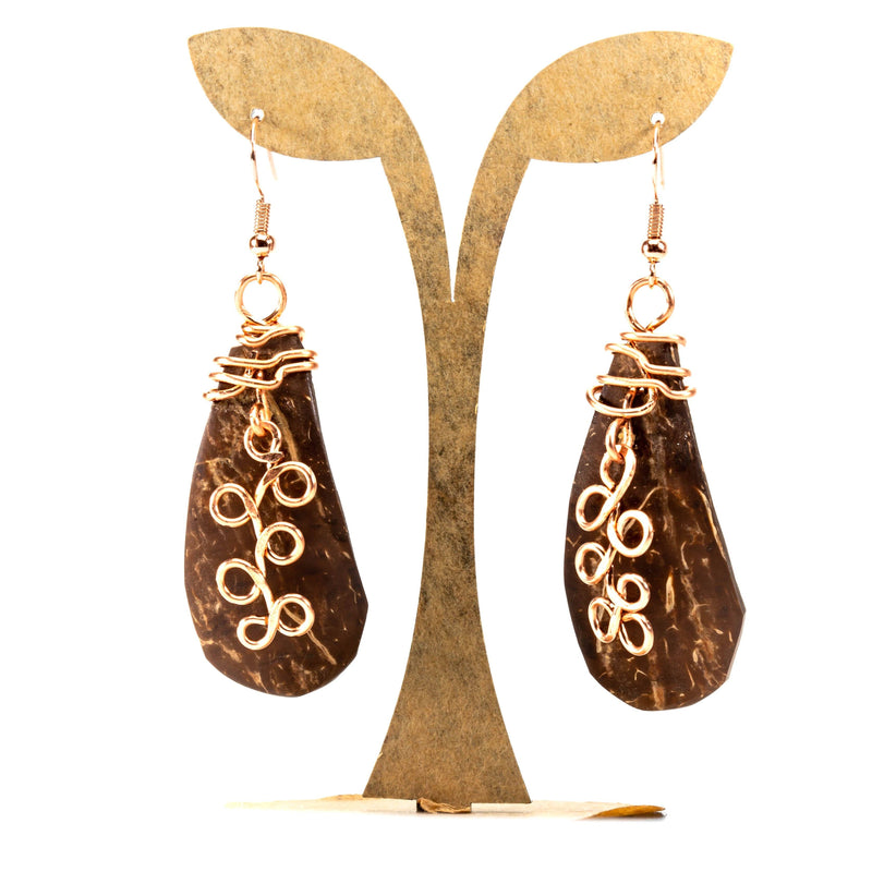 Boho Gypsy Natural Chic Coconut Earrings | Dangles | Tinklet Jewelry