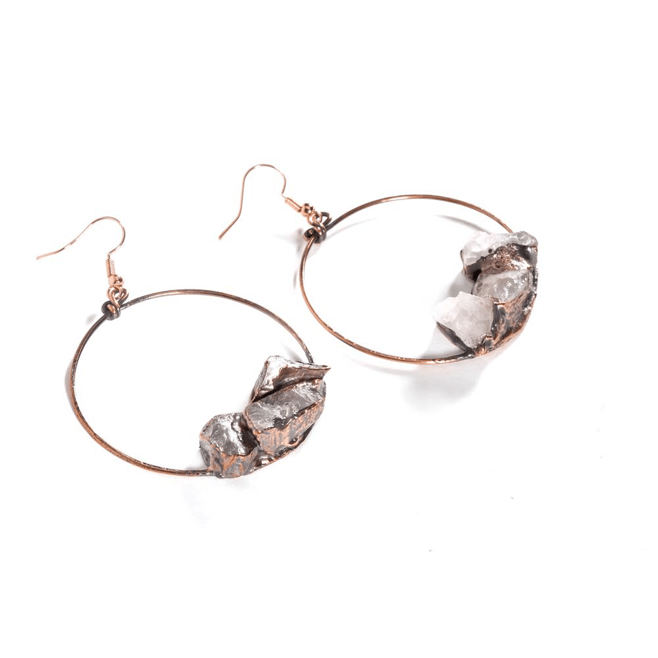 large, unusual copper hoop earrings