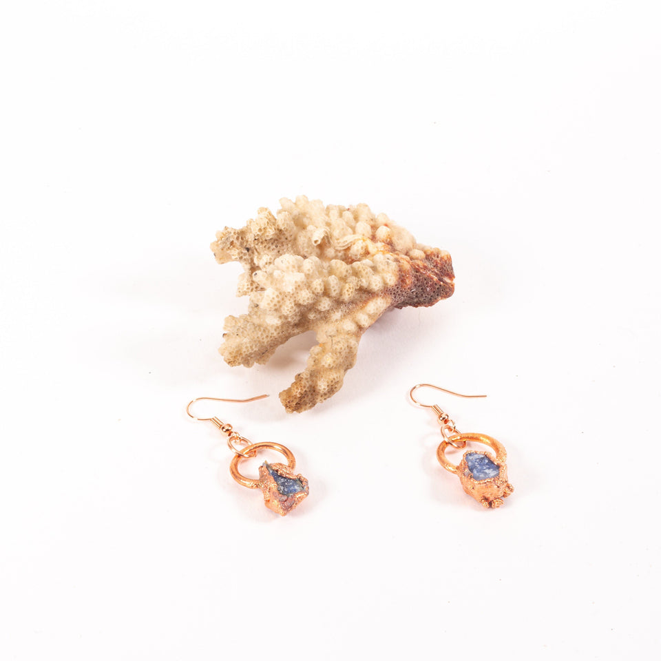 Small Electroformed Copper and Stone Earrings | Tinklet Jewelry Earring Tinklet Sodalite