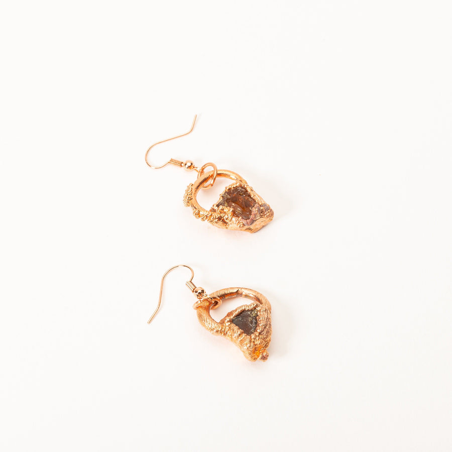 Small Electroformed Copper and Stone Earrings | Tinklet Jewelry Earring Tinklet Amber