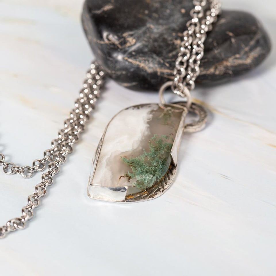 Moss Agate .925 Sterling Silver Pendant | Tinklet Jewelry necklace/pendant Tinklet