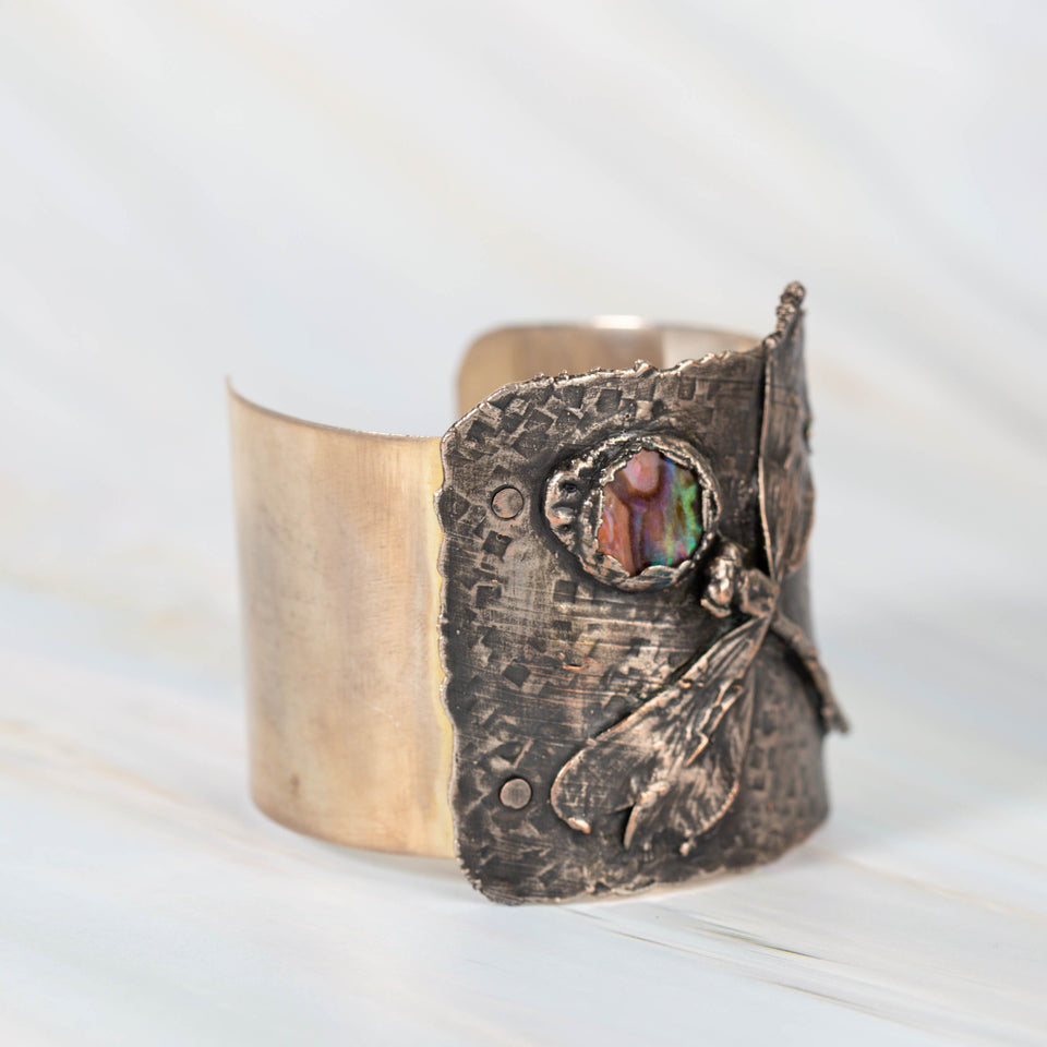 Silver Cuff with Dragonfly and Abalone Shell Cabochon | Tinklet Jewelry Bracelet Tinklet