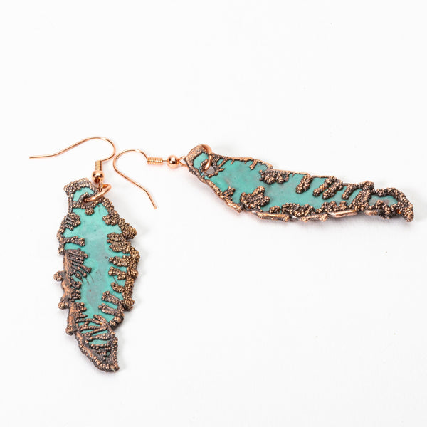Copper Leaf Enamel Earrings | Tinklet Jewelry